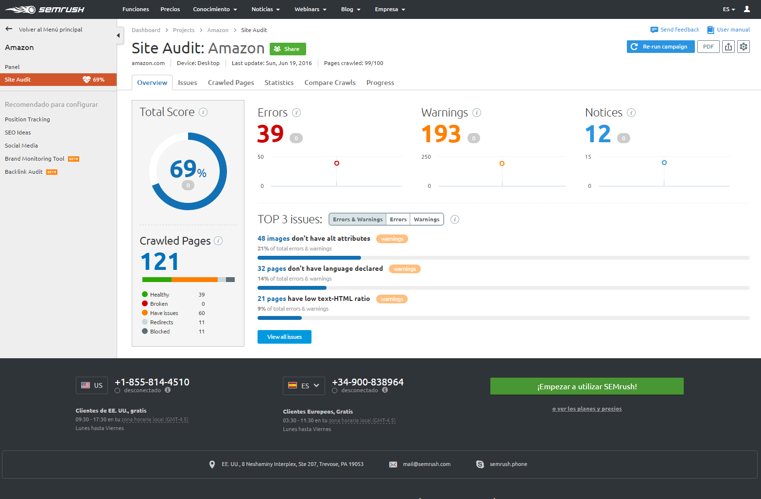 site audit semrush gratis